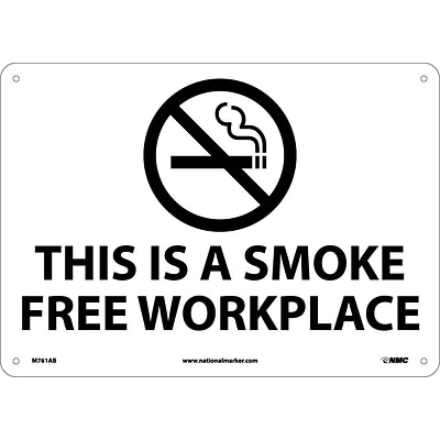 Information Signs; (Graphic) This Is A Smoke Free Workplace, 10X14, .040 Aluminum