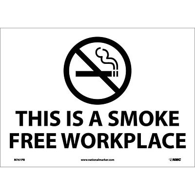 Information Labels; (Graphic) This Is A Smoke Free Workplace, 10X14, Adhesive Vinyl