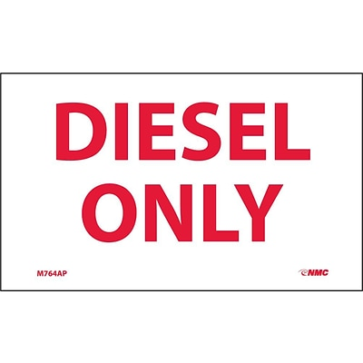 Information Labels;Diesel Only; 3X5, Adhesive Vinyl, 5/Pk