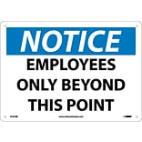 Notice Signs; Employees Only Beyond This Point, 10X14, Rigid Plastic