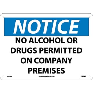 Notice Signs; No Alcohol Or Drugs Permitted On Company Premises, 10X14, Rigid Plastic