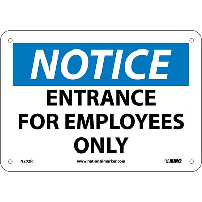 Entrance For Employees Only, 7X10, Rigid Plastic, Notice Sign
