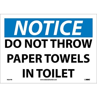 Notice Labels; Do Not Throw Paper Towels In Toilet, 10X14, Adhesive Vinyl