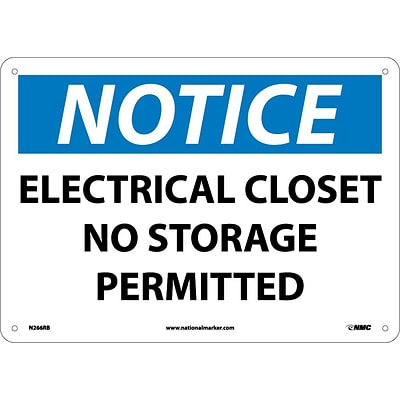 Notice Signs; Electrical Closet No Storage Permitted, 10X14, Rigid Plastic