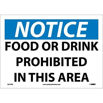 Notice Labels; Food Or Drink Prohibited In This Area, 10X14, Adhesive Vinyl