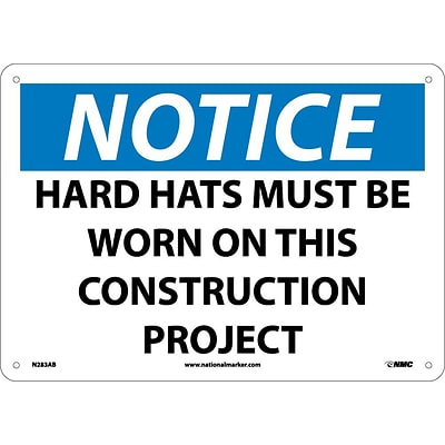 Notice Signs; Hard Hats Must Be Worn On This Construction Project, 10X14, .040 Aluminum