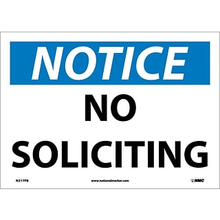 Notice Labels; No Soliciting, 10X14, Adhesive Vinyl