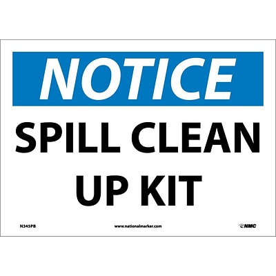 Notice Labels; Spill Clean Up Kit, 10X14, Adhesive Vinyl