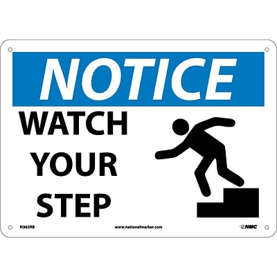 Notice Signs; Watch Your Step, Graphic,  10X14, Rigid Plastic