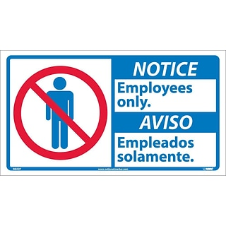 Notice Labels; Employees Only (Bilingual W/Graphic), 10X18, Adhesive Vinyl