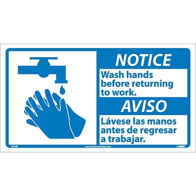 Notice Labels; Wash Hands Before Returning To Work (Bilingual W/Graphic), 10X18, Adhesive Vinyl
