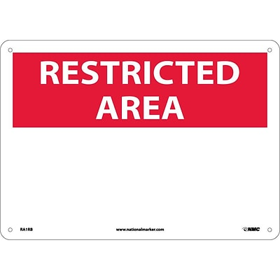 Notice Signs; Restricted Area, Blank, 10X14, Rigid Plastic
