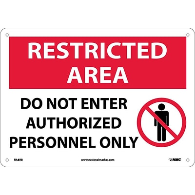 Notice Signs; Restricted Area, Do Not Enter Authorized Personnel Only, Graphic, 10X14, Rigid Plastic