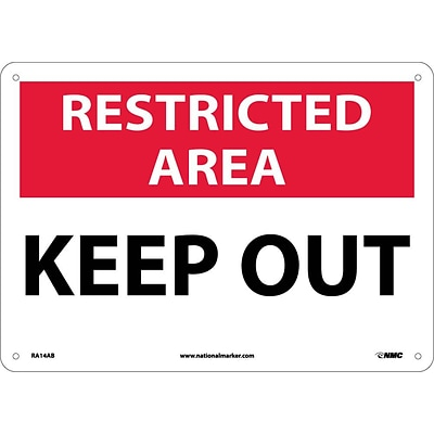Notice Signs; Restricted Area, Keep Out, 10X14, .040 Aluminum
