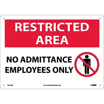 Notice Signs; Restricted Area, No Admittance Employees Only, Graphic, 10X14, .040 Aluminum