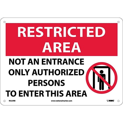 Notice Signs; Restricted Area, Not An Entrance Only Authorized Persons To Enter..., Graphic, 10X14