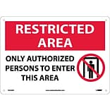Notice Signs; Restricted Area, Only Authorized Persons To Enter..., Graphic, 10X14, .040 Aluminum