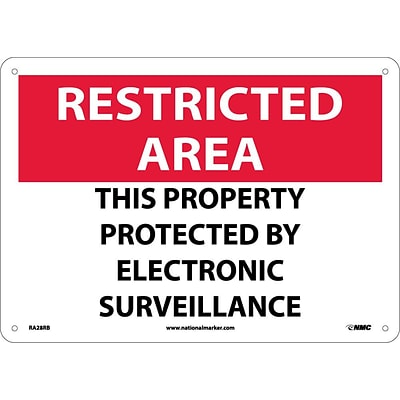 Notice Signs; Restricted Area, This Property Protected By Electronic..., 10X14, Rigid Plastic