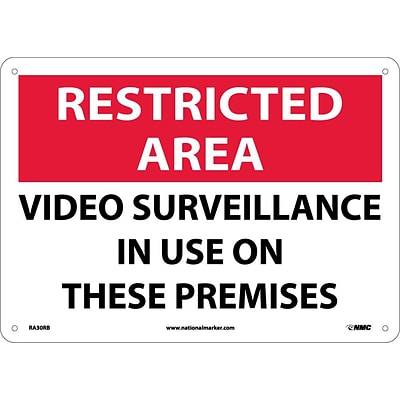 Notice Signs; Restricted Area, Video Surveillance In Use On These Premises, 10X14, Rigid Plastic