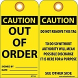 Accident Prevention Tags; Out Of Order, 6X3, .015 Mil Unrip Vinyl, 25 Pk W/ Grommet