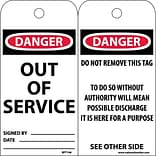 Accident Prevention Tags; Out Of Service, 6X3, .015 Mil Unrip Vinyl, 25 Pk