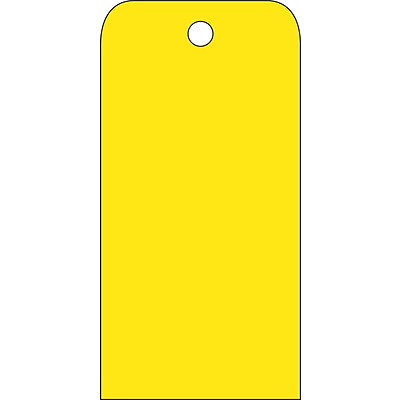 Accident Prevention Tags; Yellow Blank, 6X3, .015 Mil Unrip Vinyl, 25 Pk