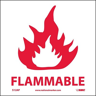 Information Labels; Flammable, 4X4, Adhesive Vinyl, Labels sold in 5/Pk