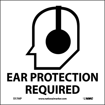 Information Labels; Ear Protection Required (Graphic), 4X4, Adhesive Vinyl, Labels sold in 5/Pk