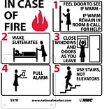 Information Signs; Hotel Motel Fire Emergency Instructions (W/ Graphic), 7X7, Rigid Plastic
