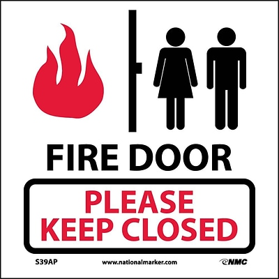 Information Labels; Fire Door Please Keep Closed (Graphic), 4X4, Adhesive Vinyl, Labels sold in 5/Pk
