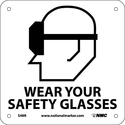 Notice Signs; Wear Your Safety Glasses (W/ Graphic), 7X7, Rigid Plastic