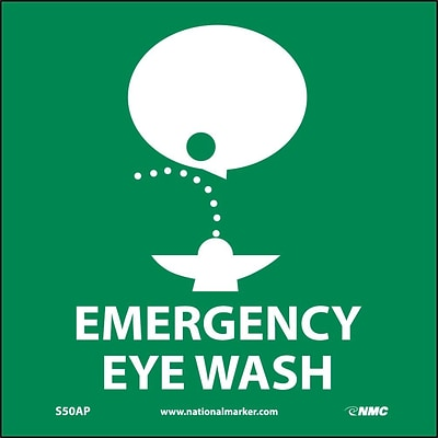 Information Labels; Emergency Eye Wash (Graphic), 4X4, Adhesive Vinyl, Labels sold in 5/Pk