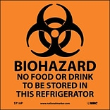 Biohazard No Food Or Drink . . .(Graphic); 4X4, Adhesive Vinyl, Labels sold in 5/Pk