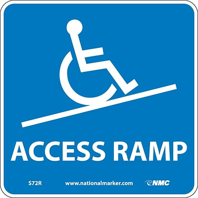 Information Signs; Access Ramp (W/ Graphic), 7X7, Rigid Plastic