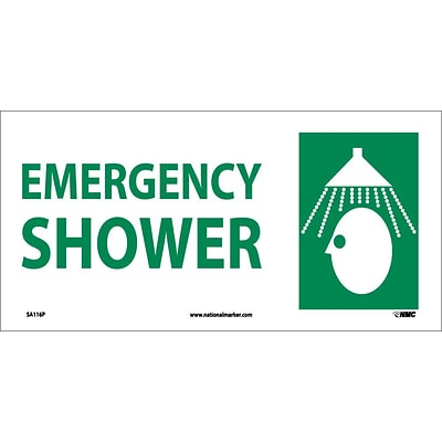 Information Labels; Emergency Shower (W/ Graphic), 7X17, Adhesive Vinyl