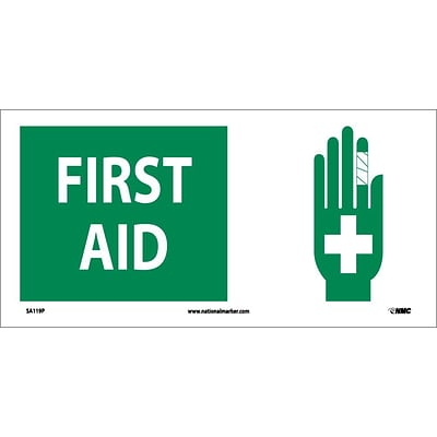 Information Labels; First Aid (W/ Graphic), 7X17, Adhesive Vinyl