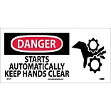 Danger Labels; Starts Automatically Keep Hands Clear (W/ Graphic), 7X17, Adhesive Vinyl