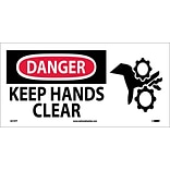 Danger Labels; Keep Hands Clear, (W/Graphic), 7X17, Adhesive Vinyl
