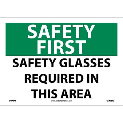 Safety First Information Labels; Safety Glasses Required In This Area, 10X14,  Adhesive Vinyl