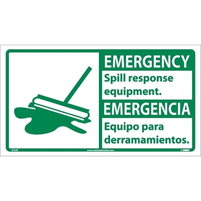 Information Labels; Emergency, Spill Response Equipment (Bilingual W/Graphic), 10X18, Adhesive Vinyl