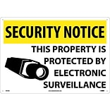 Security Notice Signs; This Property Is Protected By Electronic Surveillance, 14X20, .040 Aluminum