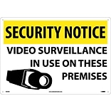 Security Notice Signs; Video Surveillance In Use On These Premises, 14X20, Rigid Plastic