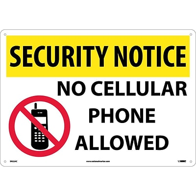 Security Notice Signs; No Cellular Phones Allowed, Graphic, 14X20, .040 Aluminum