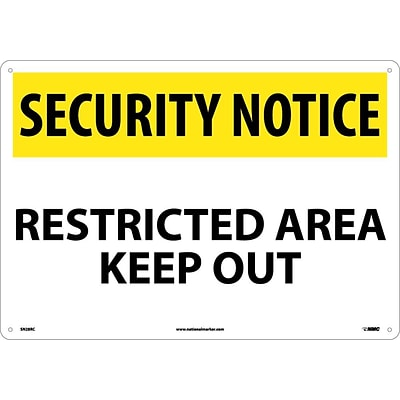 Security Notice Signs; Restricted Area Keep Out, 14X20, Rigid Plastic