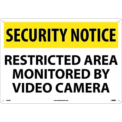 Security Notice Signs; Restricted Area Monitored By Video Camera, 14X20, Rigid Plastic