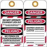Lockout Tags; Danger, Do Not Operate Equipment Lock Out, Bilingual, 6X3, Unrip Vinyl, 25/Pk