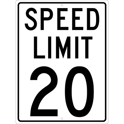 Speed Limit Signs; Speed Limit 20, 24X18, .080 Hip Ref Aluminum