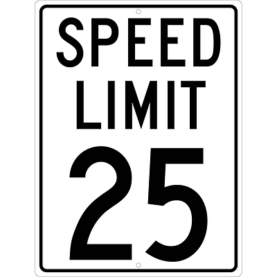 Speed Limit Signs; Speed Limit 25, 24X18, .080 Hip Ref Aluminum
