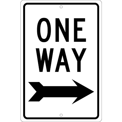 Directional Signs; One Way (With Right Arrow), 18X12, .063 Aluminum