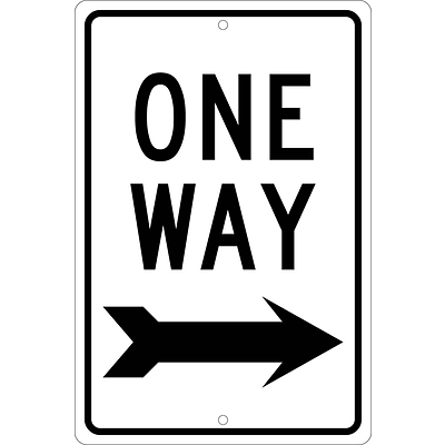 Directional Signs; One Way (Right Arrow), 18X12, .080 Hip Ref Aluminum